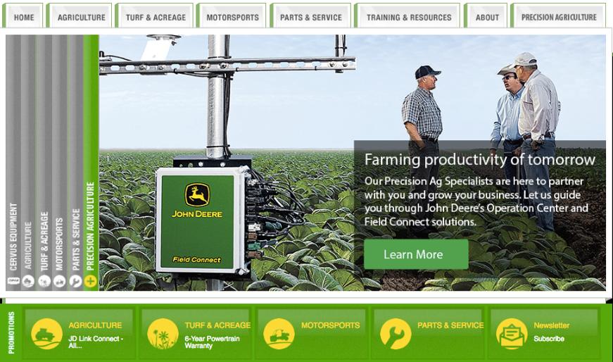 Figure 4-10: John Deere website depicting advances in precision agriculture.