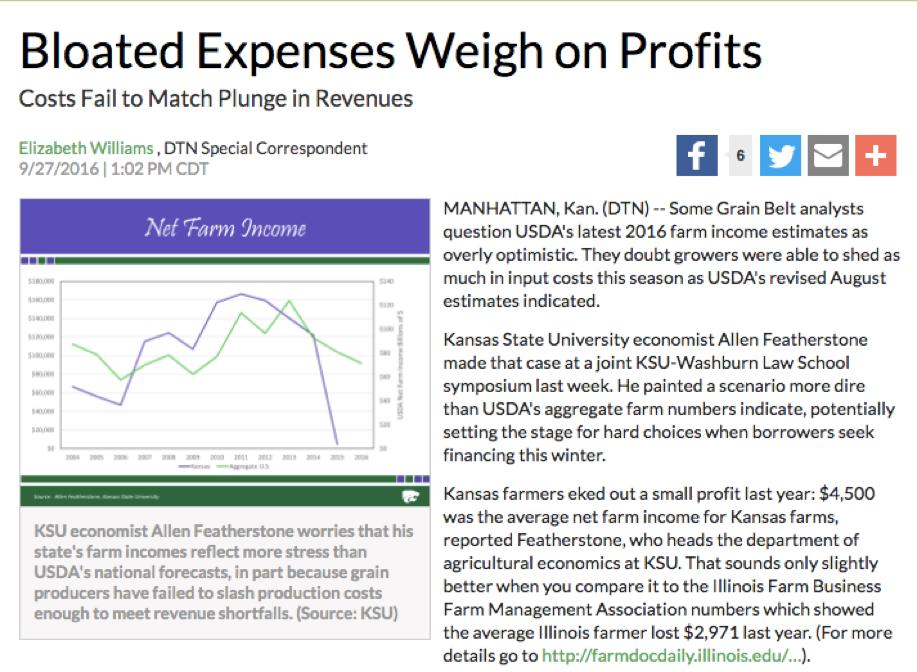 Figure 5-7: Screenshot of news article predicting poor farm income