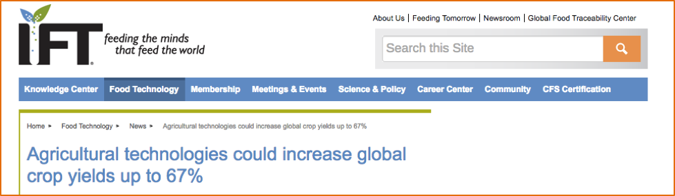 Figure 5-9: Screen shot of IFT prediction that technology will increase yield