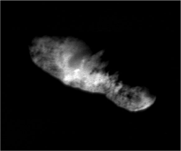 Final image of the nucleus of comet Borrelly taken by DS1. Credit: NASA