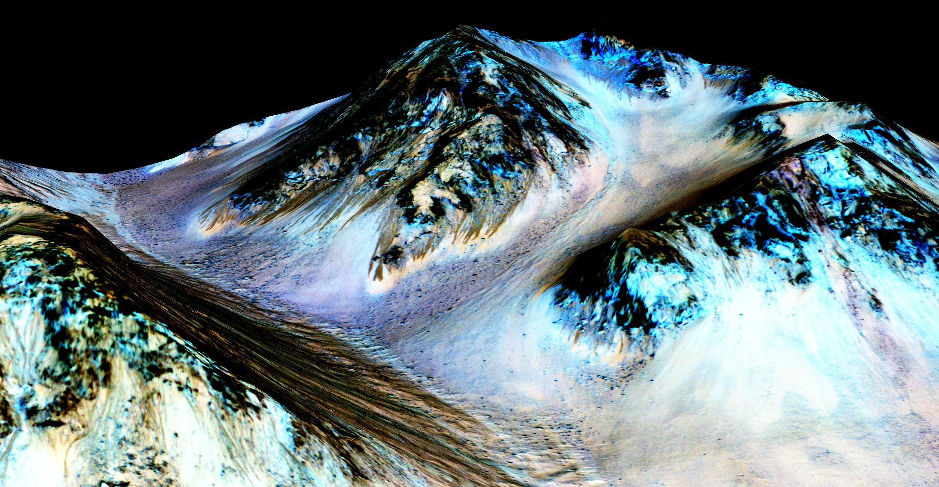 False color image of RSLs on Mars' Hale Crater.8 Courtesy of NASA/JPL-Caltech/Univ. of Arizona.
