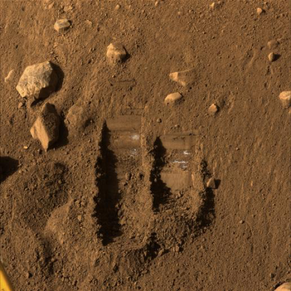 Figure 2: Two trenches on the surface of Martian soil.
