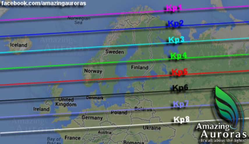 Graphic showing what strength Kp is needed to view aurora at different locations. Courtesy of Amazing Auroras.