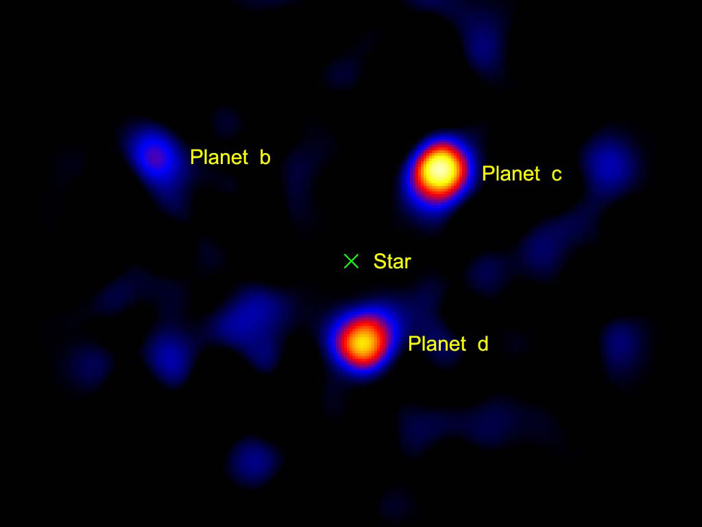 Three planets, likely gas giants like Jupiter, 120 light-years away directly imaged orbiting the star HR8799 (the light of which is being blocked by a coronagraph).10 Credit: NASA/JPL-Caltech/Palomar Observatory