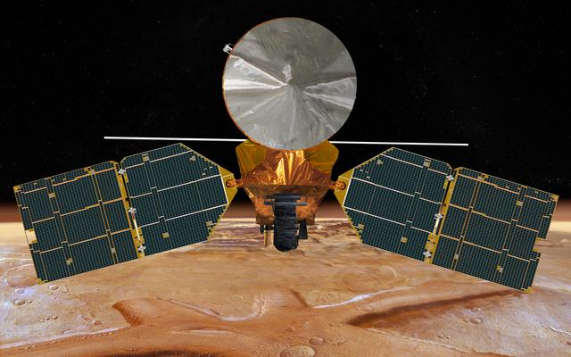 Computer generated image of the MRO in orbit over Mars. Courtesy of NASA/JPL-Caltech.
