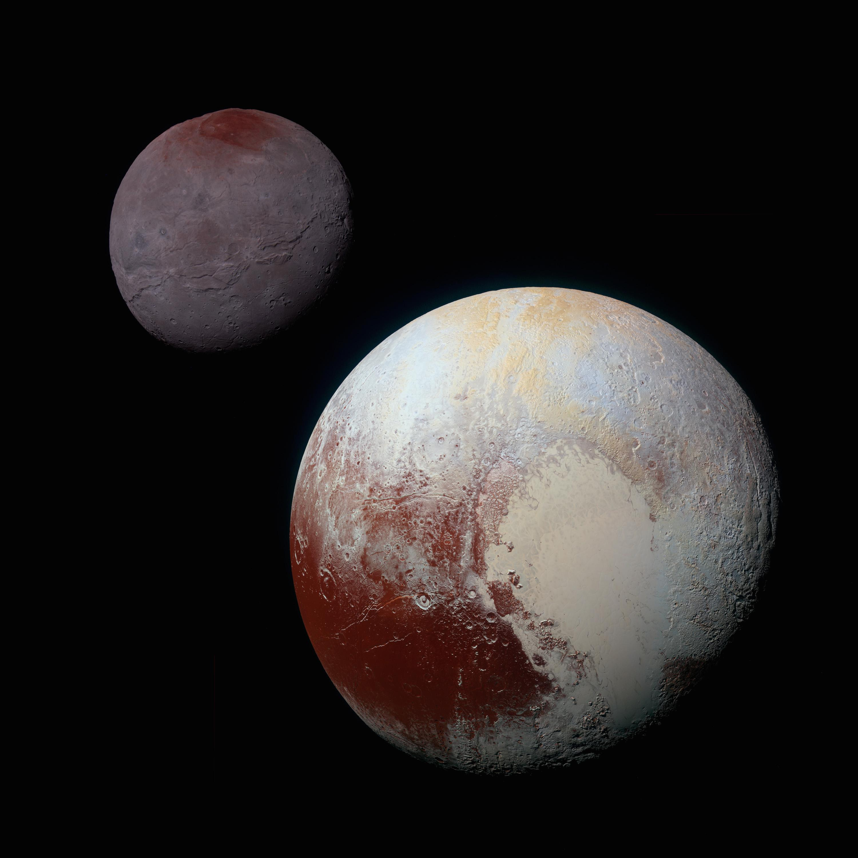 Pluto and Charon, identically enhanced and processed. Courtesy of NASA/JHUAPL/SwRI