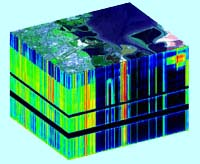 Example image of a data cube with the photo taken (being in this case of a coastline) overlain. The missing cross sections are the absorption lines of water.19 Courtesy of NASA/JPL-Caltech