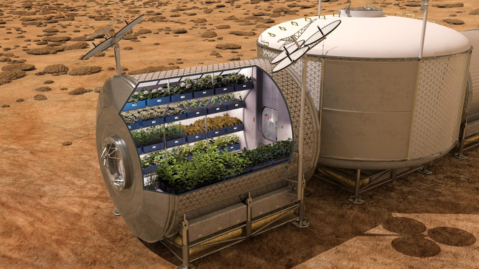 Figure 7: Potential greenhouse build/setup on Mars