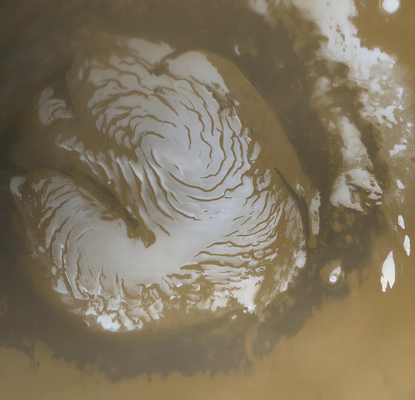 Mars North Polar Cap, 1999. Image Credit: NASA/JPL/Malin Space Science Systems