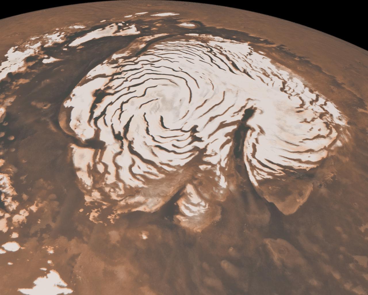 Mars North Pole Ice Cap. Image Credit: Image Credit: NASA/JPL-Caltech/MSSS