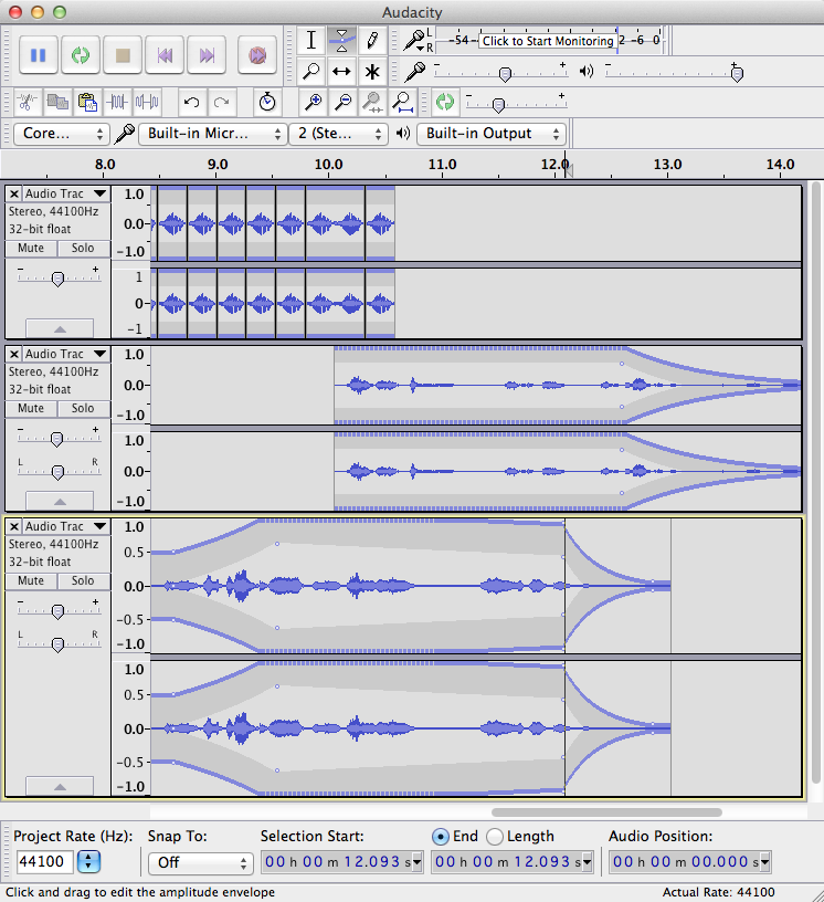 Screenshot  of multitrack audacity project