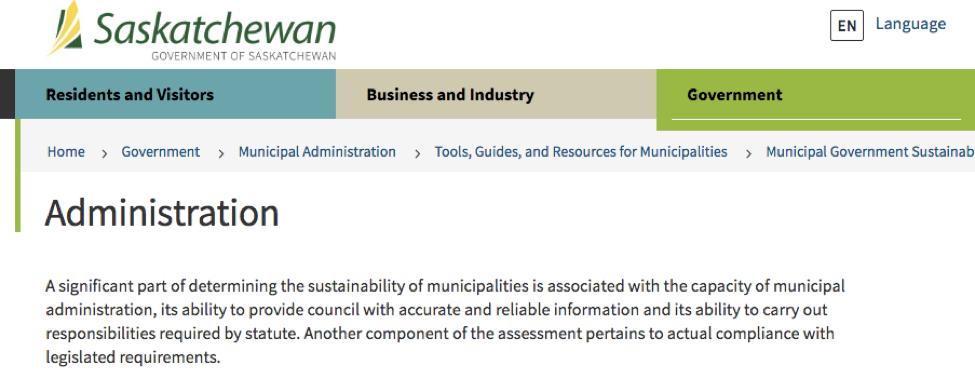 Fig. 3-7: Government of Saskatchewan on municipal sustainability.