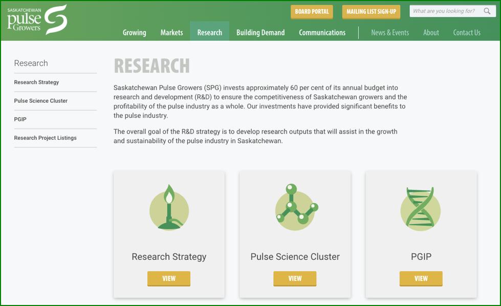 Figure 4-8: Screen shot from Saskatchewan Pulse Growers' website. Accessed September 13, 2016. URL: http://saskpulse.com/research/