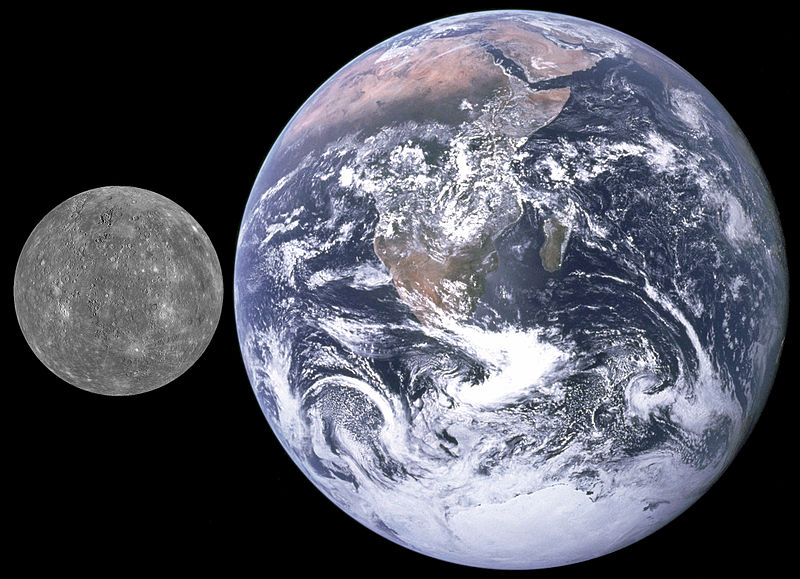Mercury and Earth size comparison Courtesy of NASA (Earth); NASA/APL (from MESSENGER) (Mercury)