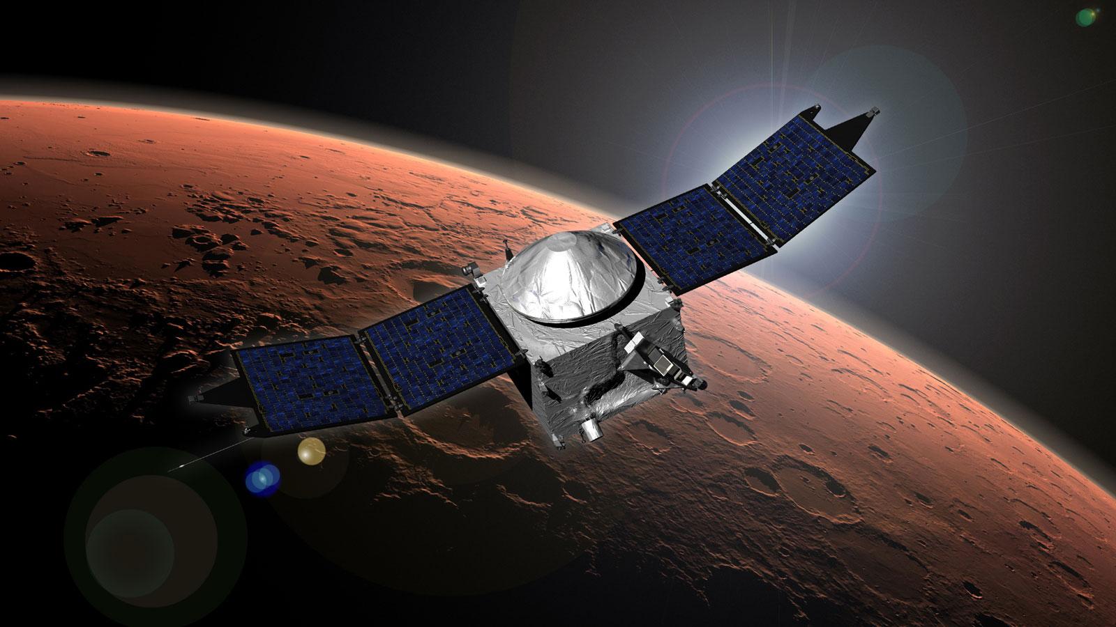 Figure 3: The MAVEN orbiter as it orbits Mars. Credit: NASA/Goddard Space Flight Center