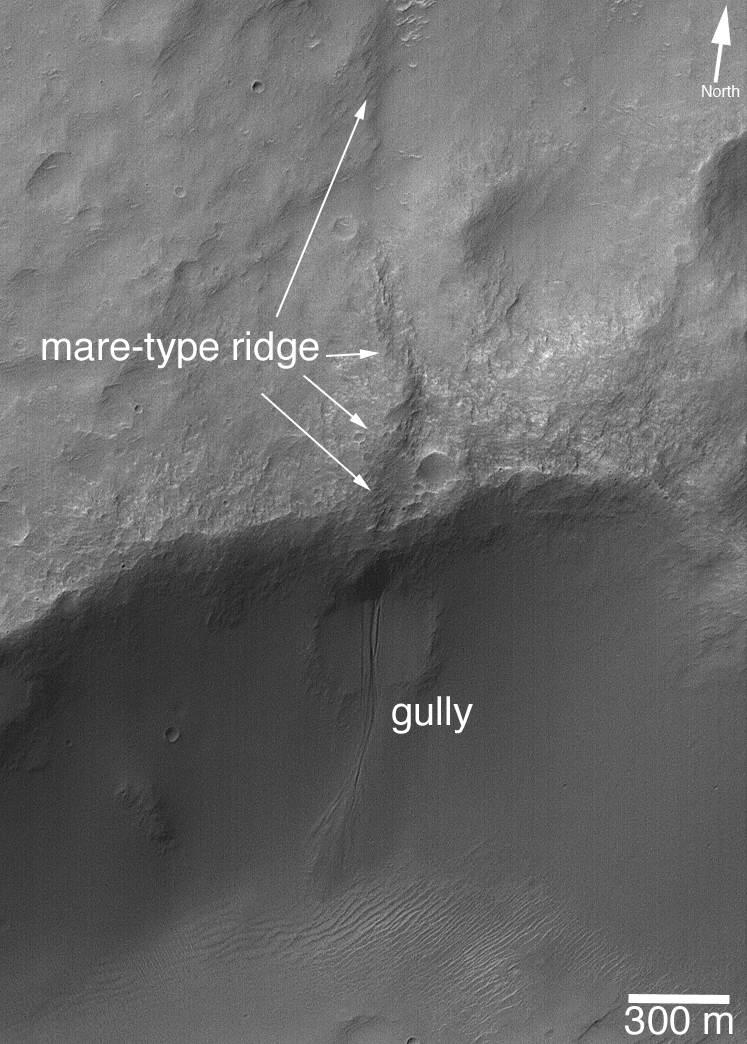 Image of Martian features likely caused by liquid water, taken by the MGS. Courtesy of NASA/JPL/Malin Space Science Systems.