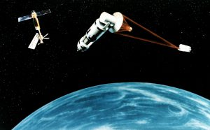 A depiction of Excalibur, a interspace Thermonuclear Device for missile defence, firing on a single device. Similar technology is proposed to divert PHOs Courtesy U.S Airforce